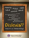 Cartaz Dislexia – procure um fonoaudiólogo