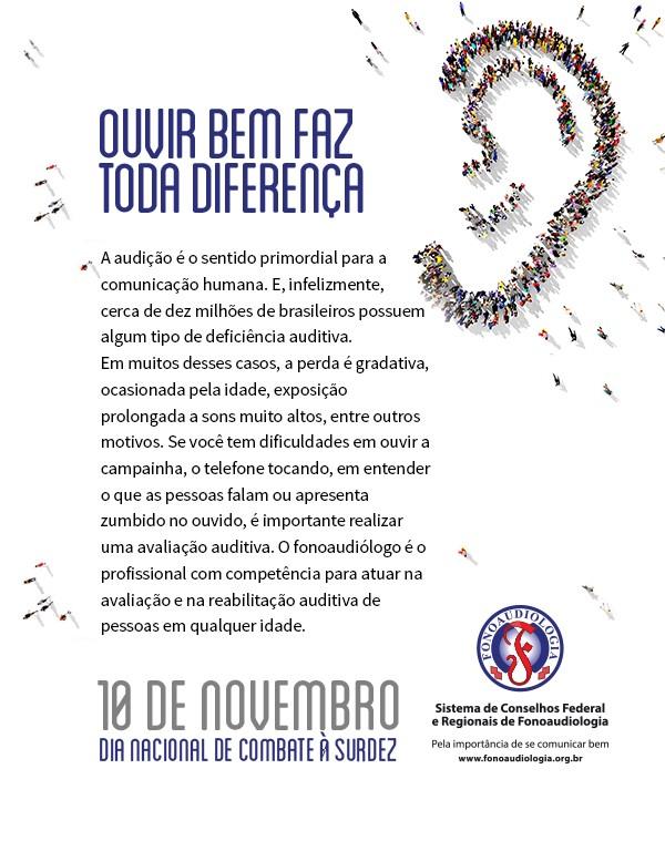 Campanha:  Dia Nacional de Combate à Surdez – 10 de novembro